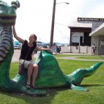 A sculpture of Lake Champlain's legendary monster, Champ, on the Burlington, Vermont waterfront. Champ was the inspiration for SEA MONSTER'S FIRST DAY.