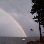A double rainbow over Lake Champlain, where I live.