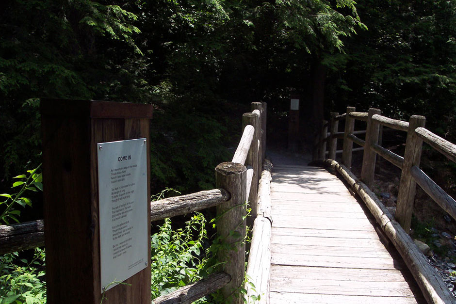 The Robert Frost Trail in Ripton, Vermont. All along the trail, there are plaques with Frost poems that fit the landscape. This was the inspiration for one of the chapters in THE BRILLIANT FALL OF GIANNA Z.