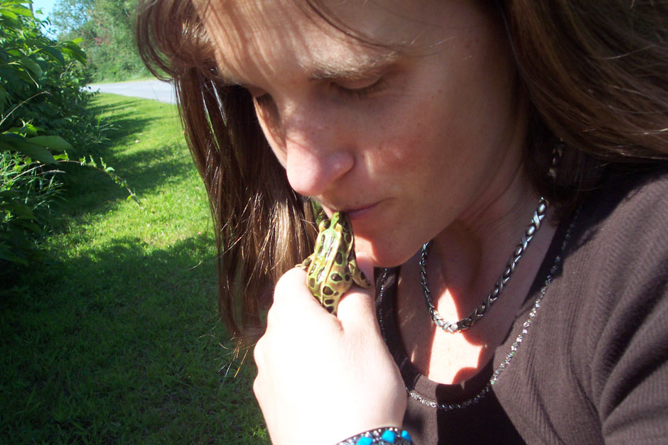 Yep! You guessed it! (The frog wasn't nearly as slimy as I'd guessed it might be. It was just smooth and cool, and truly, I think it was more upset about the kiss than I was!)