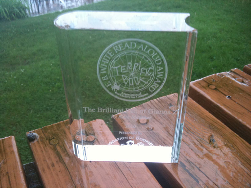 Here's the award. Isn't it lovely? I keep it in my office now.