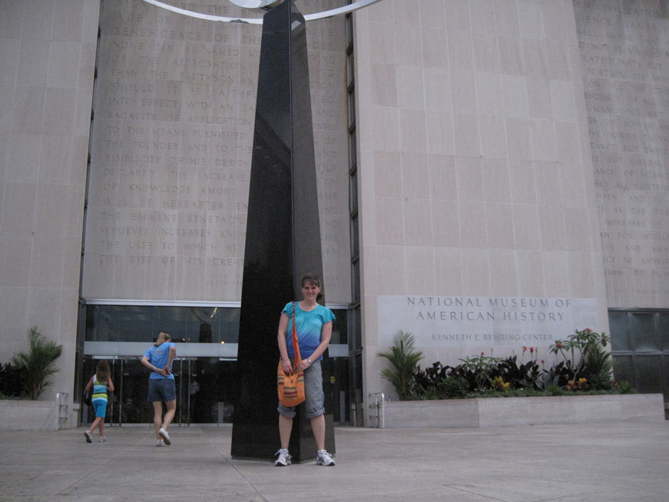 Here I am at the Smithsonian Museum of American History in Washington, D.C. where the huge flag that inspired the Star Spangled Banner is on display. On a research trip for my mystery THE STAR SPANGED SETUP (Scholastic, 2012), I spent a morning trying to figure out how thieves might be able to steal the flag and sneak it out of the museum. (Don't worry…I didn't actually try it!)