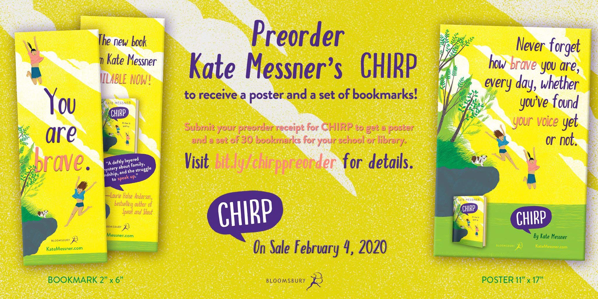 Pre-order Chirp and get a poster and a set of 30 bookmarks for your school or library. Visit bit.ly/chirppreorder for details